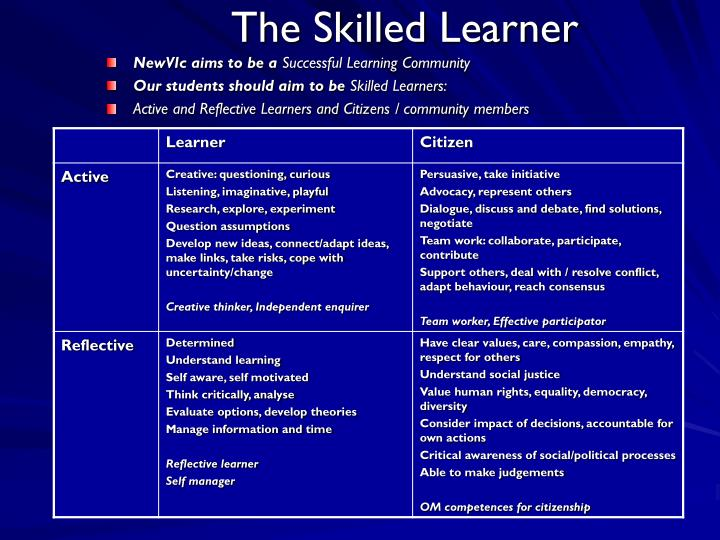 The Skilled Learner