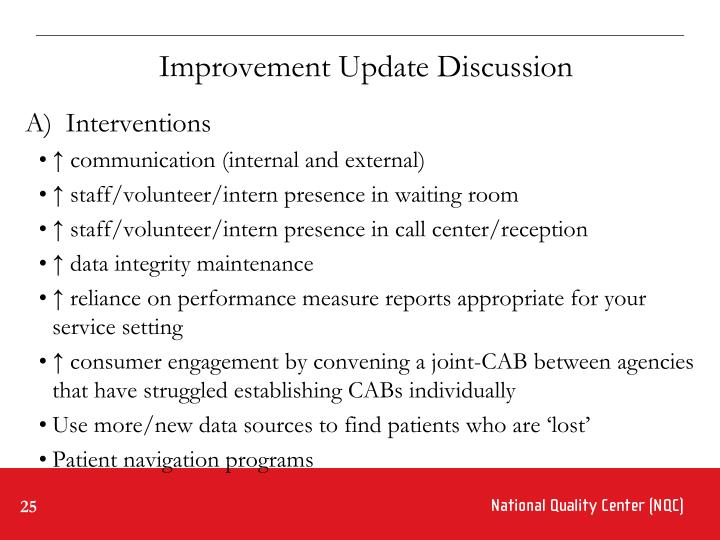 Improvement Update Discussion