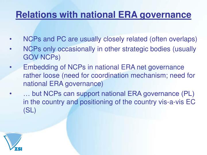 Relations with national ERA governance