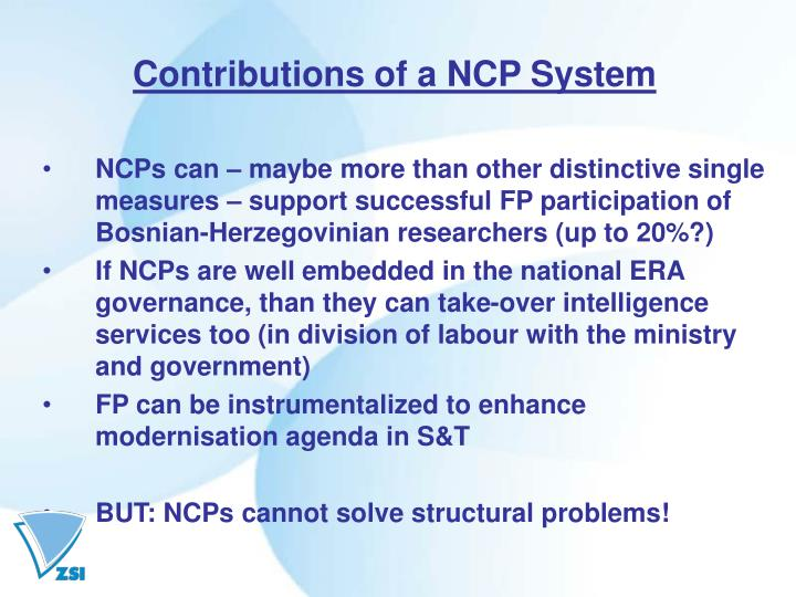Contributions of a NCP System