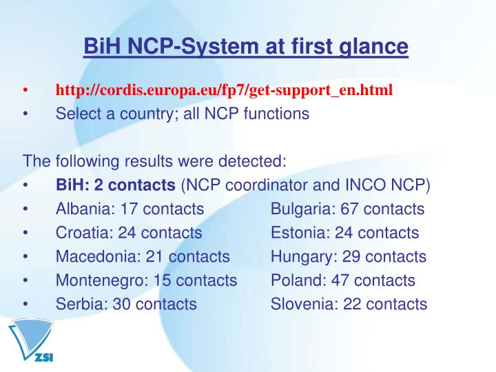 BiH NCP-System at first glance