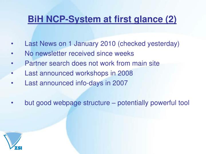BiH NCP-System at first glance (2)