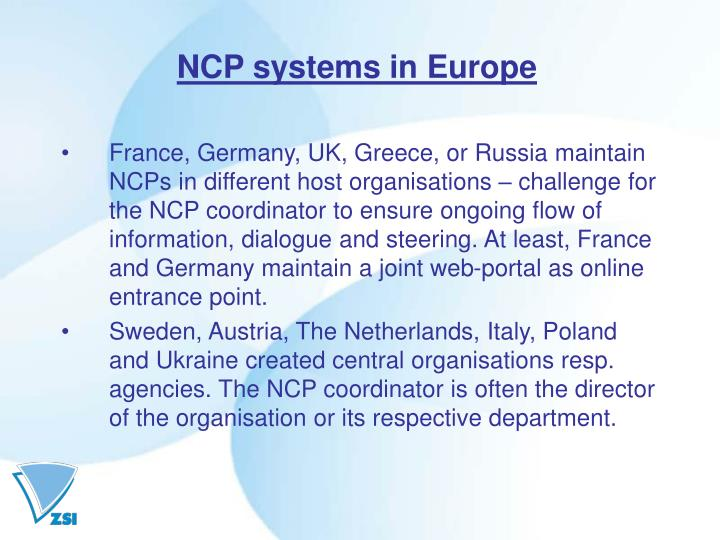 NCP systems in Europe