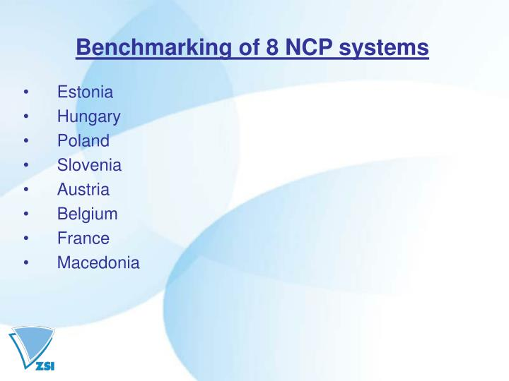 Benchmarking of 8 NCP systems