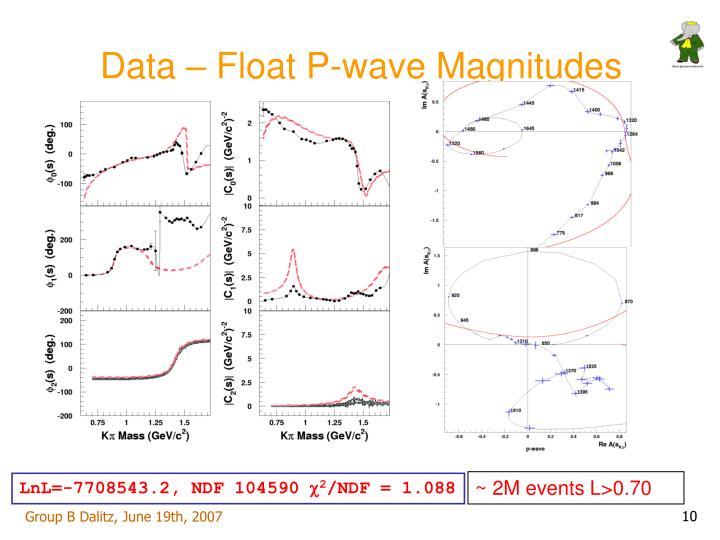 Data – Float P-wave Magnitudes