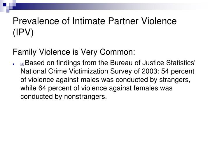Prevalence of Intimate Partner Violence (IPV)