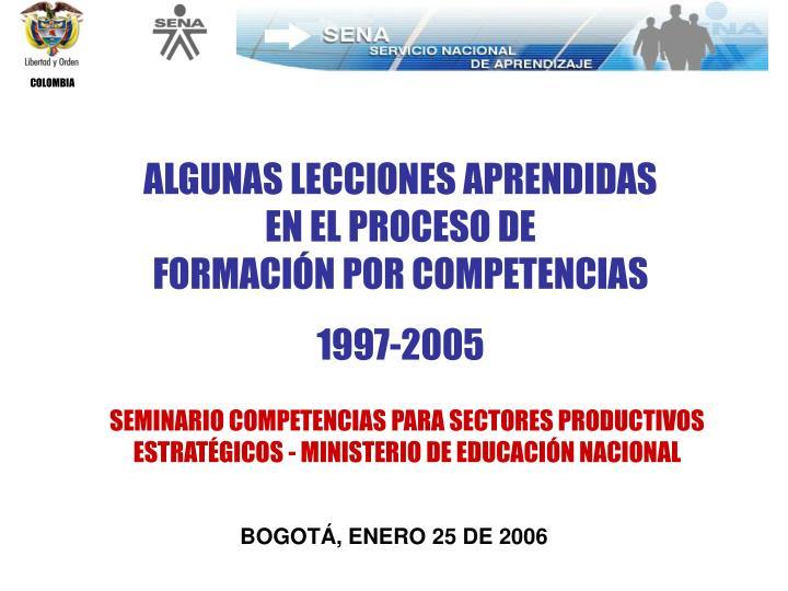 ALGUNAS LECCIONES APRENDIDAS        EN EL PROCESO DE                            FORMACIÓN POR COMPETENCIAS