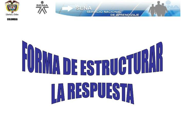 FORMA DE ESTRUCTURAR