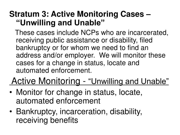 """Stratum 3: Active Monitoring Cases – """"Unwilling and Unable"""""""