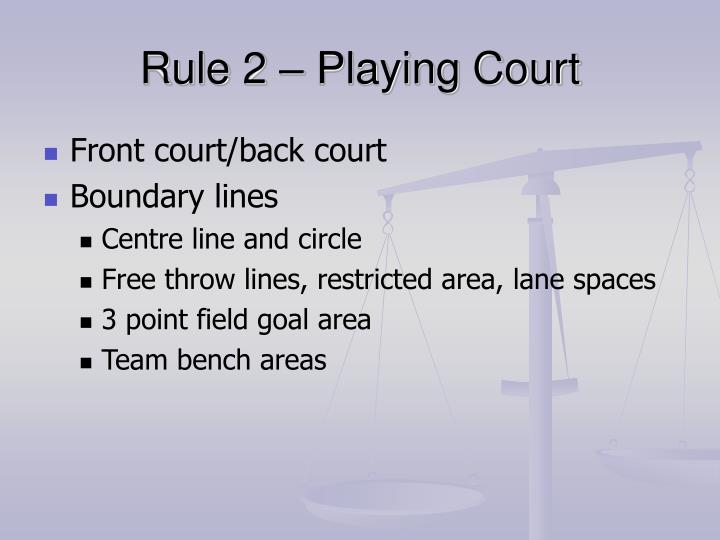 Rule 2 playing court