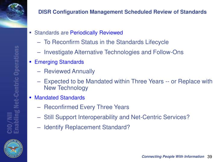 DISR Configuration Management Scheduled Review of Standards