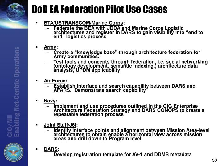 DoD EA Federation Pilot Use Cases