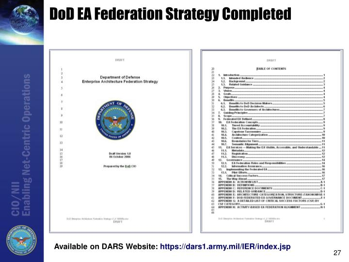 DoD EA Federation Strategy Completed