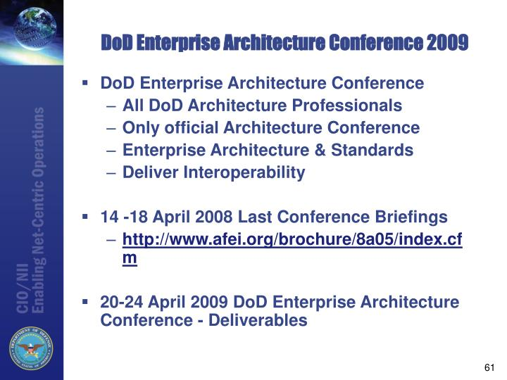 DoD Enterprise Architecture Conference