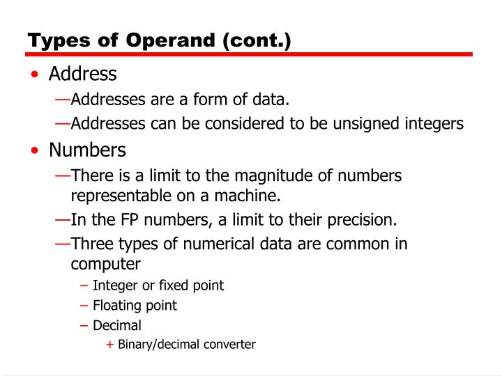 Types of Operand (cont.)