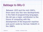 babbage to billy o