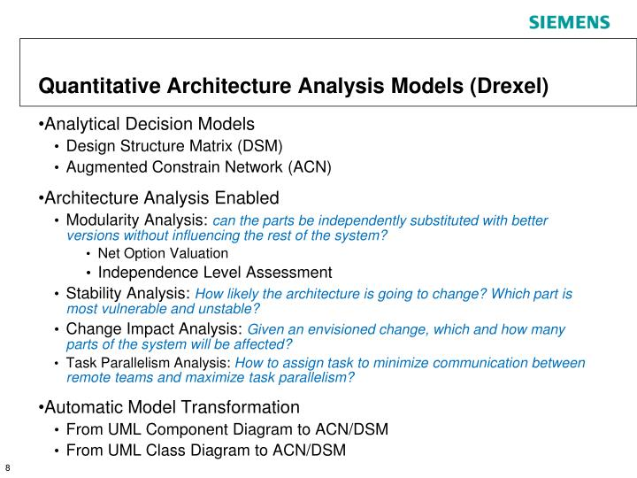Quantitative Architecture Analysis Models (Drexel)