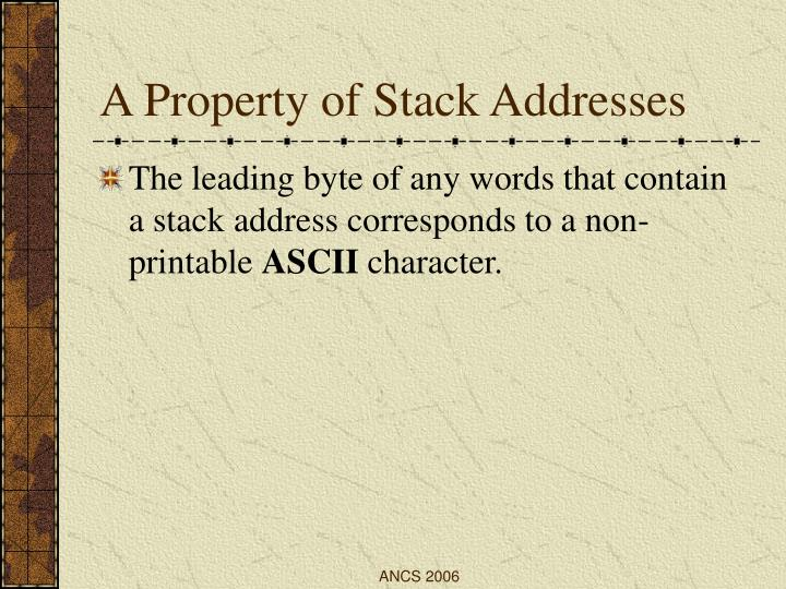 A Property of Stack Addresses