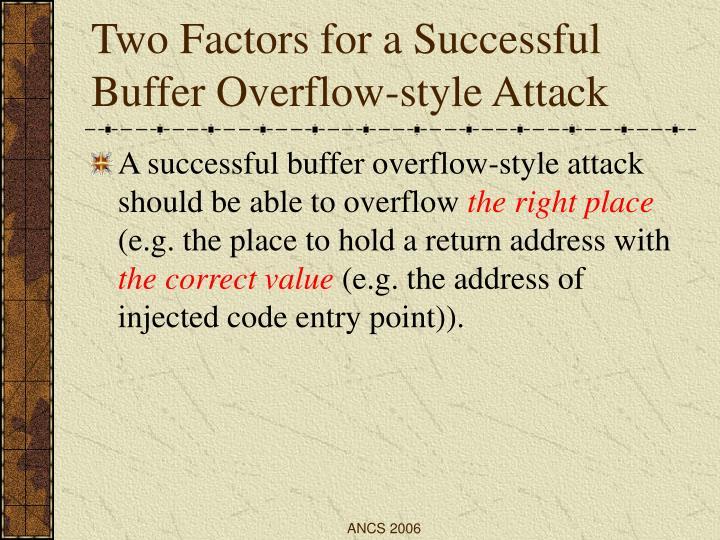 Two Factors for a Successful Buffer Overflow-style Attack