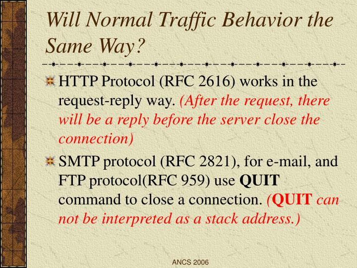 Will Normal Traffic Behavior the Same Way?