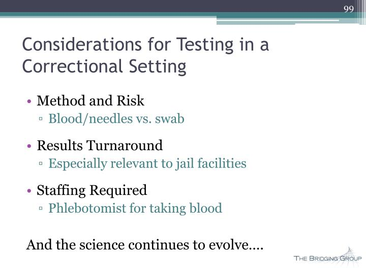 Considerations for Testing in a Correctional Setting