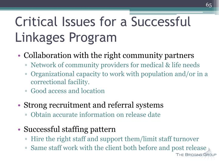 Critical Issues for a Successful Linkages Program