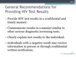 general recommendations for providing hiv test results