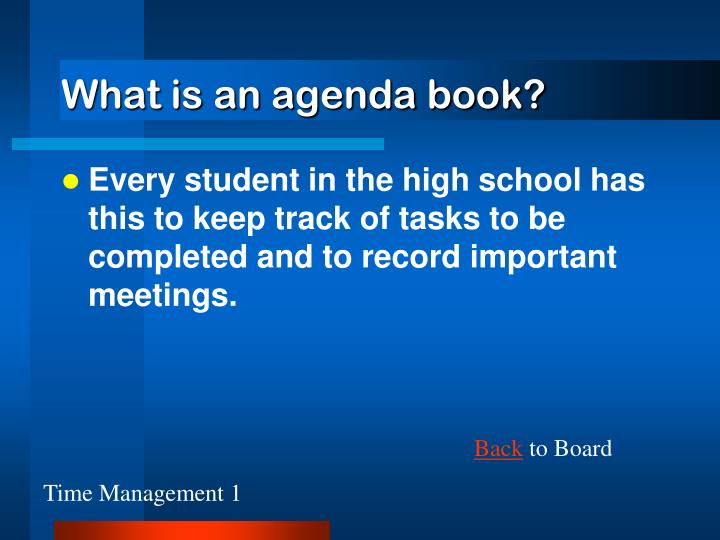 What is an agenda book?