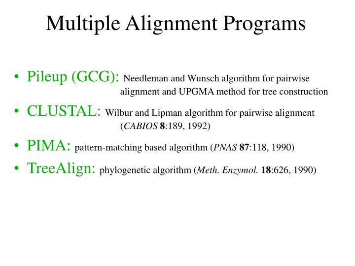 Multiple Alignment Programs