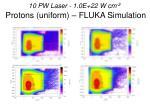 10 pw laser 1 0e 22 w cm 2 protons uniform fluka simulation4