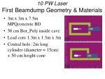 10 pw laser first beamdump geometry materials