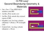 10 pw laser second beamdump geometry materials