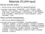 materials fluka input