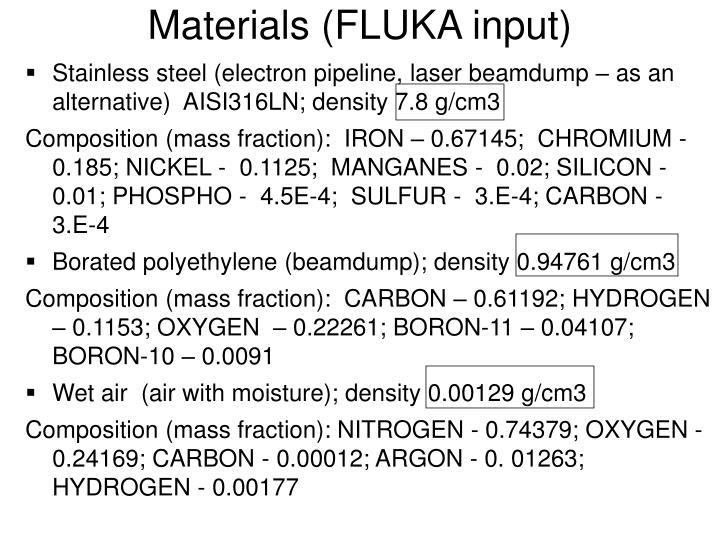 Materials (FLUKA input)