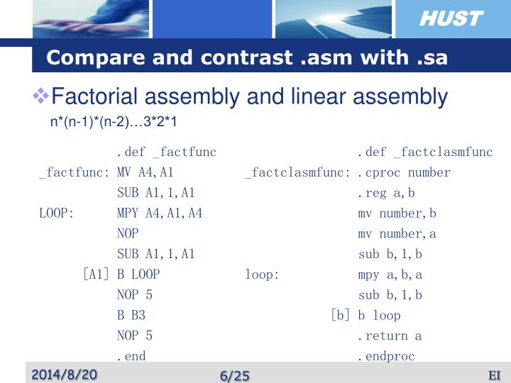 Compare and contrast .asm with .sa