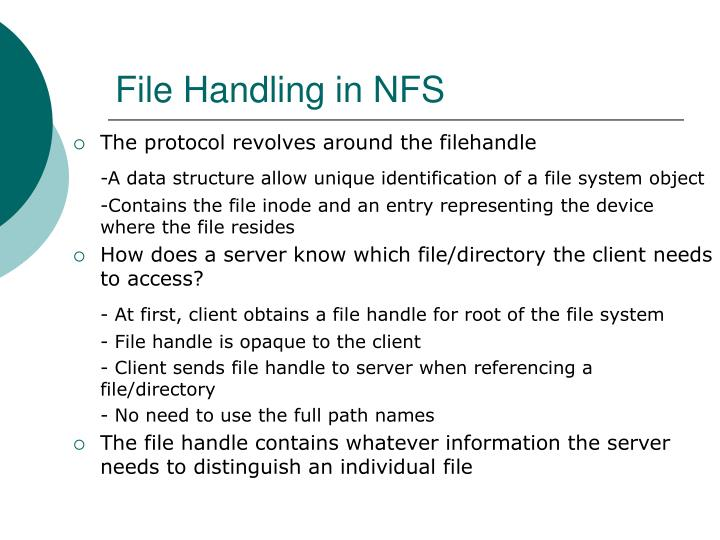 File Handling in NFS