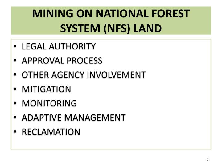 Mining on national forest system nfs land