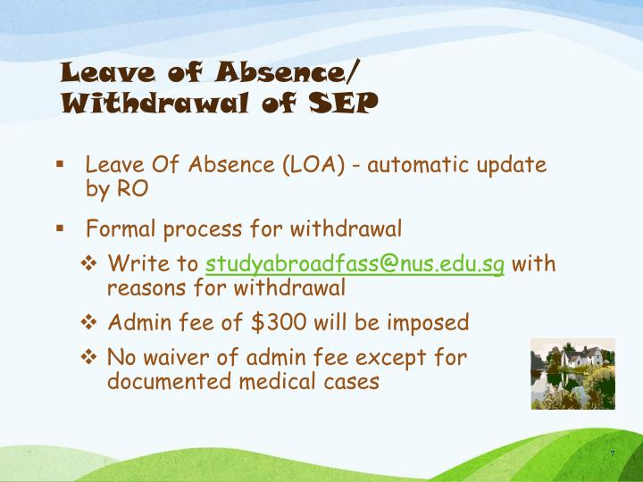 Leave of Absence/ Withdrawal of SEP