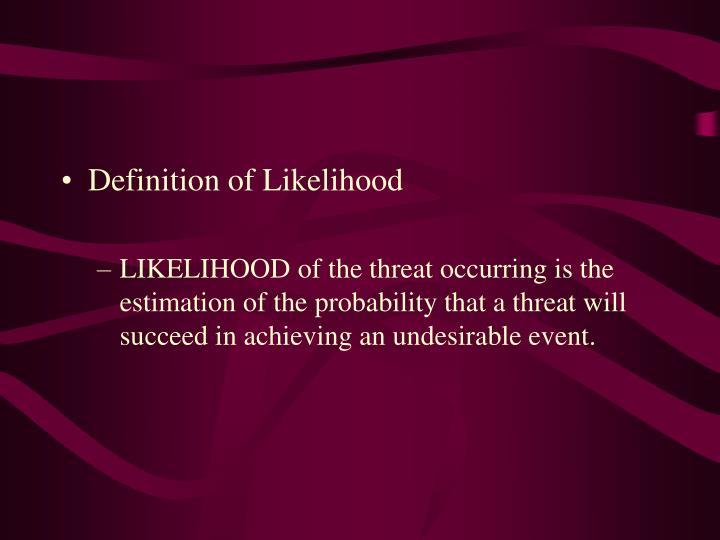Definition of Likelihood