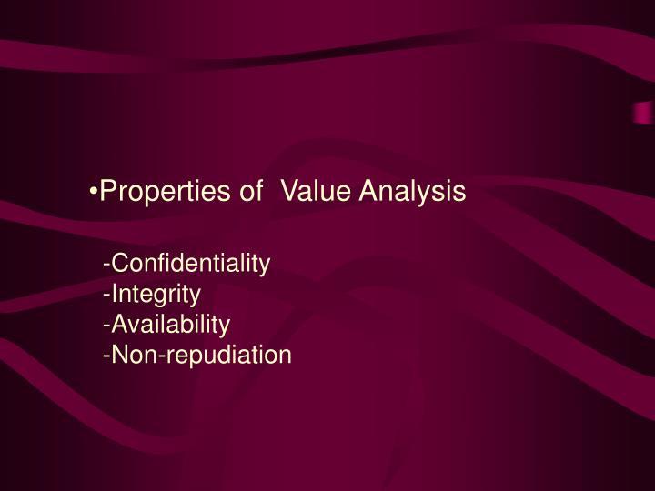 Properties of  Value Analysis