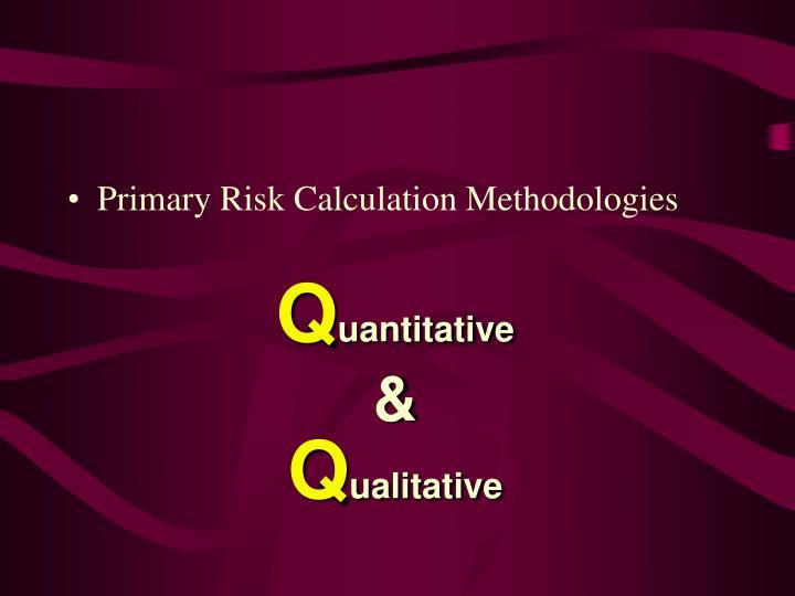 Primary Risk Calculation Methodologies