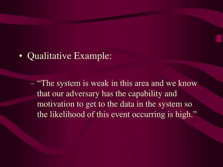 Qualitative Example: