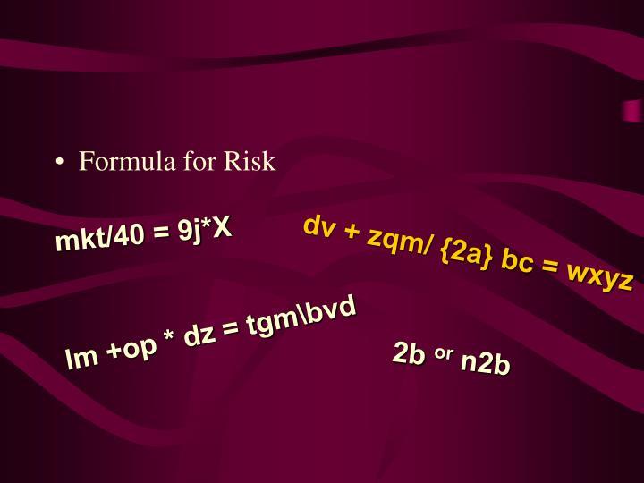 Formula for Risk