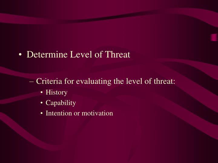 Determine Level of Threat