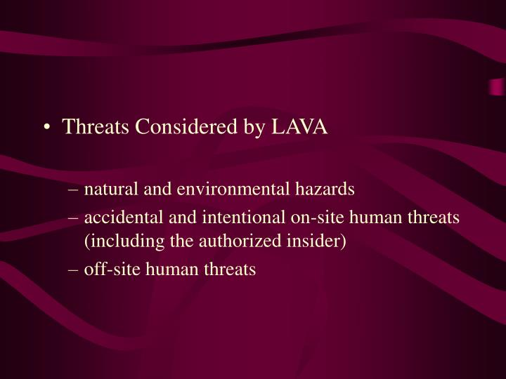 Threats Considered by LAVA
