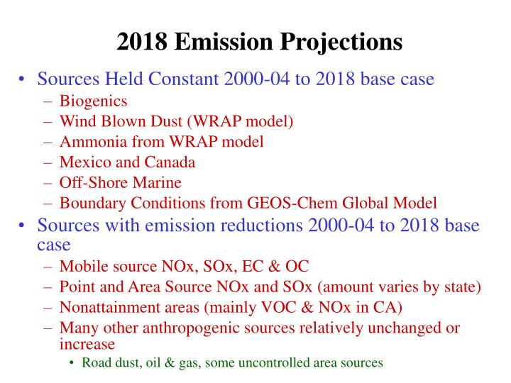 2018 Emission Projections