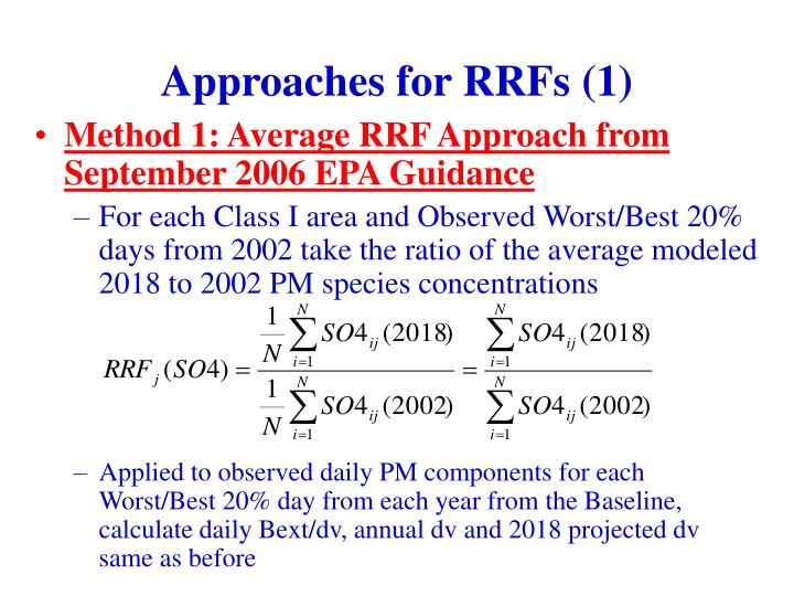 Approaches for RRFs (1)