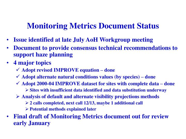 Monitoring Metrics Document Status