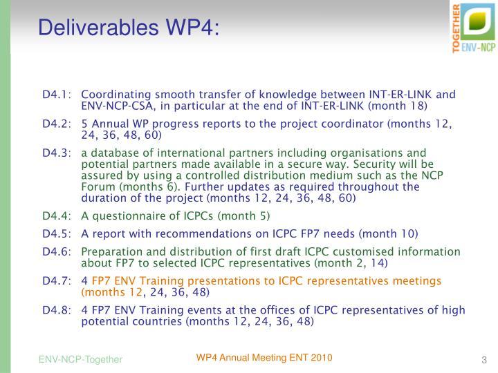 Deliverables WP4: