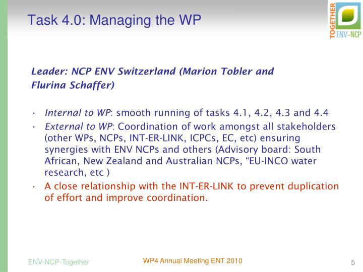 Task 4.0: Managing the WP